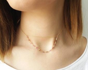 Tourmaline choker, Gold choker necklace, Solid gold choker, Simple choker necklace, Gemstone necklace, Gold beaded necklace, Dainty necklace
