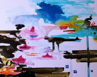 Original Abstract Art, Painting, painting abstract Turquoise painting abstract, contemporary painting modern mixed media Art