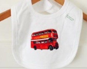 Organic Cotton London Baby Bib, London Baby Gift, New Baby gift, London Bus
