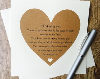 thinking of you card loss of a mother card sympathy card etsy