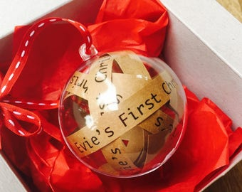 Personalised Babies First Christmas Bauble, Babies 1st Christmas Gift, First Xmas Decoration