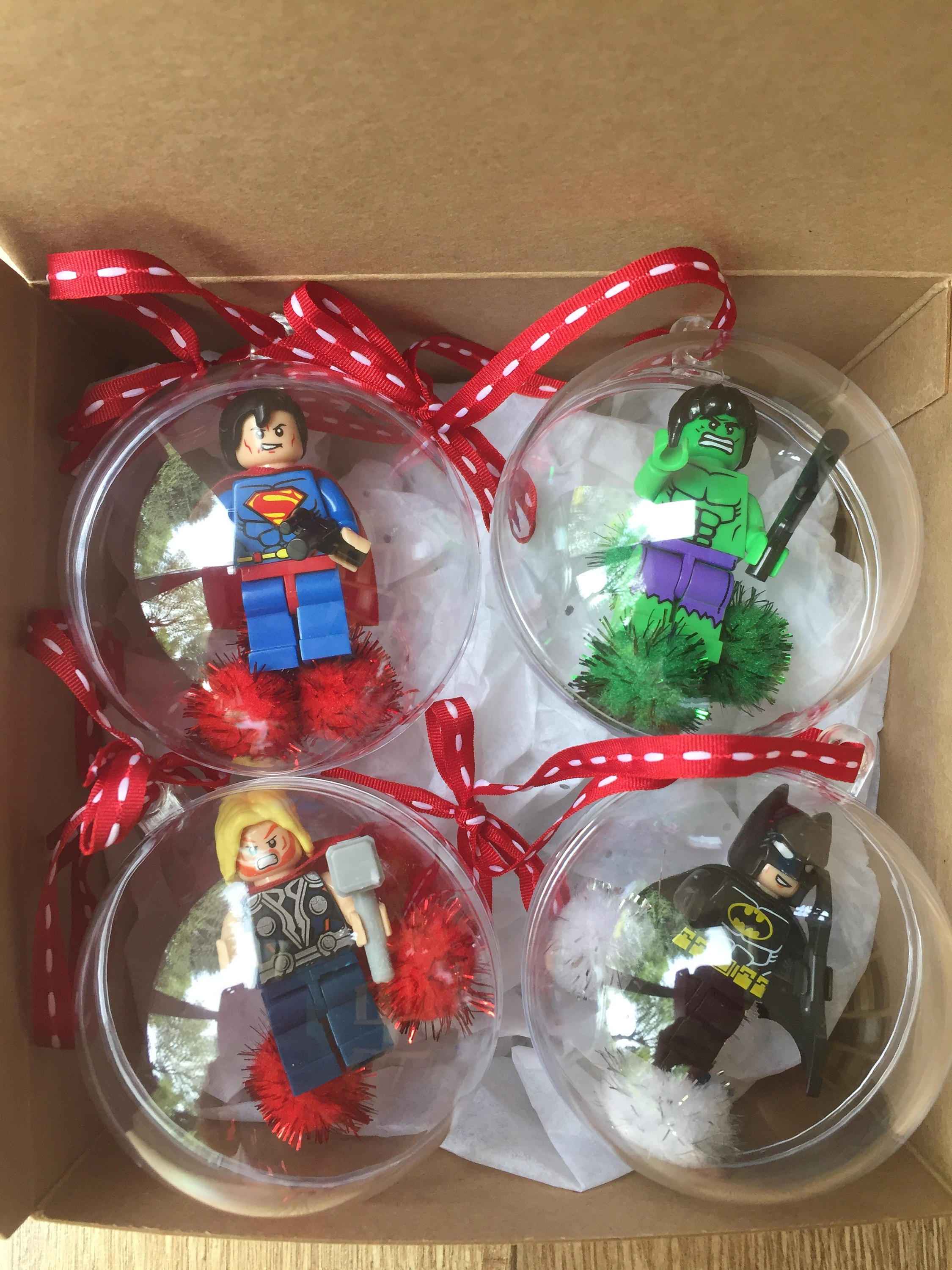Set of Superhero Minifigure Christmas Baubles Superhero