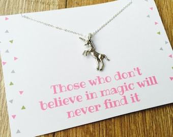 Silver Unicorn Charm Necklace, Unicorn Gift Necklace, Unicorn Quote, Believe In Magic