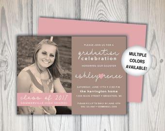 Rustic Graduation Party Invitation   Graduation Party Invitation Template with Picture   Digital Download   Printable Rustic Graduation