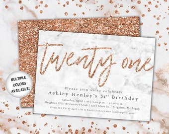 21st Birthday Invitation Rose Gold | Twenty First Birthday Invitation Template Rose Gold | Rose Gold Twenty First Invitation | Party Invite