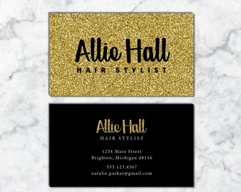 Hair stylist business cards etsy business cards hairstylist hairdresser business cards black and gold business cards business cards hair business card template hair friedricerecipe Images