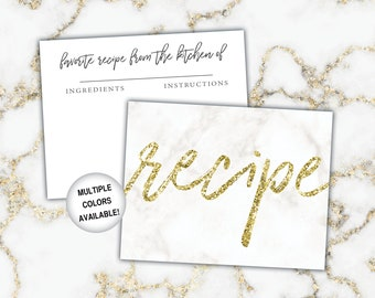 Printable Black Silver and Gold Bridal Shower Recipe Card and Invitation Insert Glitter Recipe Cards 0001-K Black and Gold Recipe Cards
