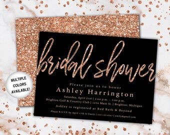 rose gold and black bridal shower invitation bridal shower invitation template rose gold wedding shower invitation printable shower