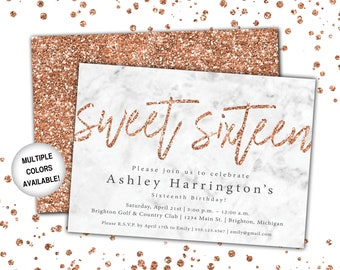 Rose Gold Sweet 16 Invitation