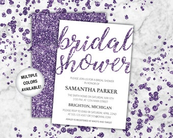 purple bridal shower invitation bridal shower invitation purple glitter template wedding shower invite purple glitter bridal shower