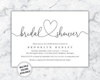printable bridal shower invitation bridal shower invitation wedding shower invitation black and white bridal shower template digital