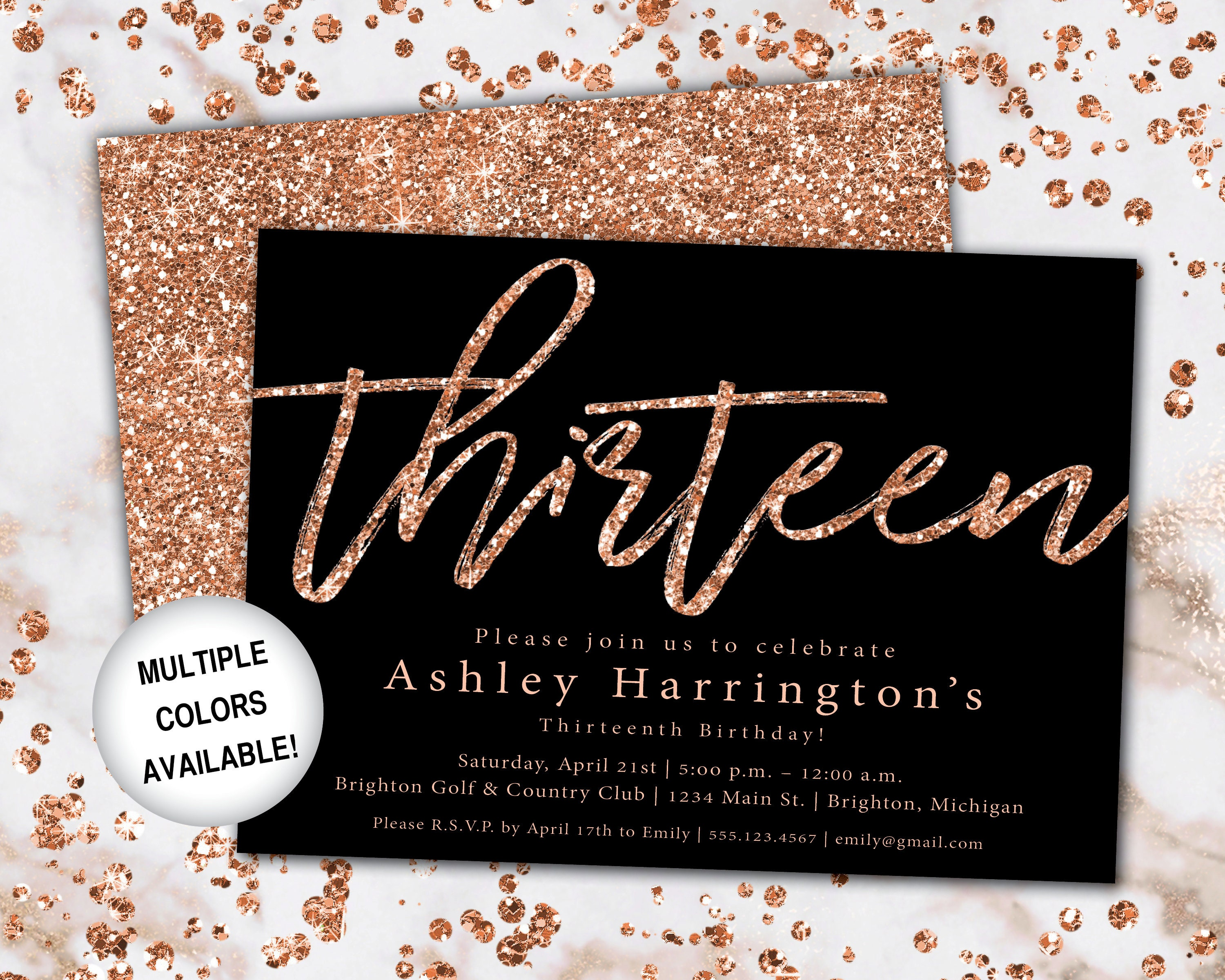 13th Birthday Invitation Rose Gold Thirteenth