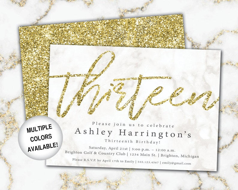 13th Birthday Invitation Gold Glitter Thirteenth