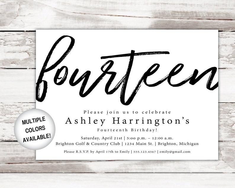 14th Birthday Invitations Printable