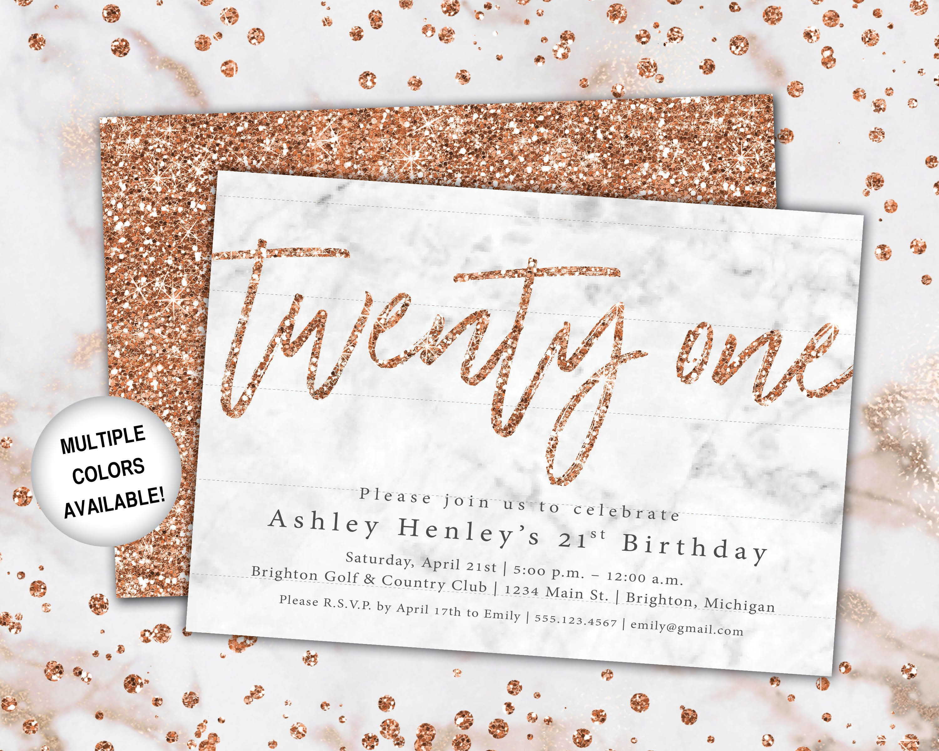 21st Birthday Invitation Rose Gold Twenty First