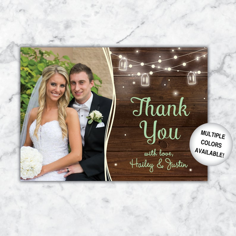 Wedding Thank You Card with Picture Wedding Thank You Postcard with Photo Rustic Thank You Card for Wedding with Photos Rustic Wedding