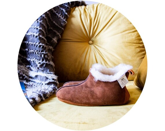 Dark Brown Natural Sheepskin Slippers. Unisex.