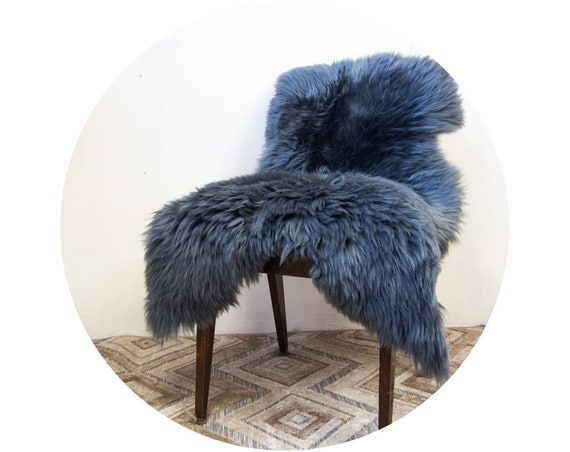 Steel Gray Natural Sheepskin Pelt. Throw Rug. Genuine Sheepskin Throw.