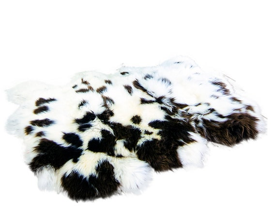 Triple Ivory & Brown Jacob Sheepskin Carpet. Premium Quality! About 160cm x 110cm