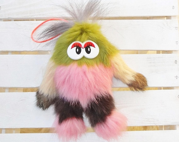 Natural rabbit fur toy. Fluffy toy. Toy for kids. Very soft fur.