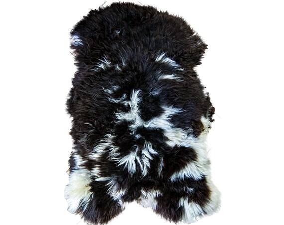 Natural UNIQUE Jacob (Black&Gray) Rare Breed Sheepskin Rug   HUGE 150cm