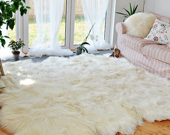 Octuple Sheepskin Carpet Rug. Premium Quality! About 185cm x 140cm. Natural sheepskin throw rug.