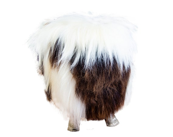 Natural Birch Wood and real Jacob sheepskin Ottoman