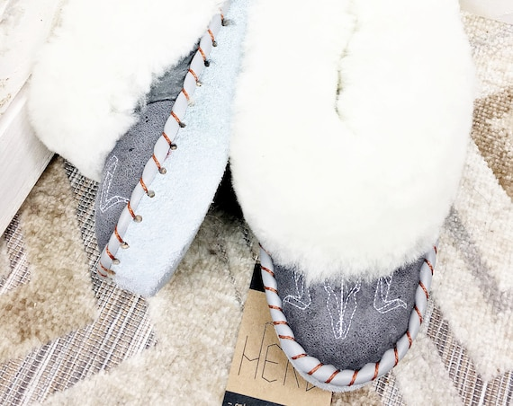 White & Gray Leather Slippers. Women's Slippers. Genuine Leather Slippers. Warm Winter Slippers.
