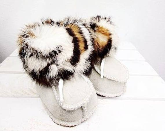 Real Leather Kids' Shoes. Natural Leather & Sheepskin Booties For Kids. Genuine Sheepskin Slippers for Kids.