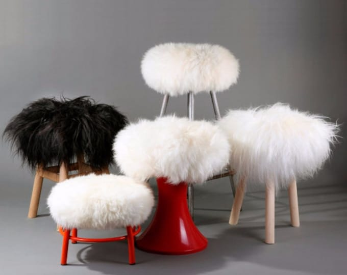 Featured listing image: Sheepskin Stool Covers! Round / Square / Rectangle. Natural Sheepskin Chair Pads.