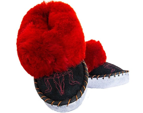 Burgundy & Black Leather Slippers.  Warm Sheepskin Winter Slippers. HANDMADE