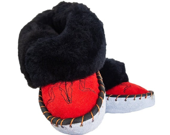 Black&Red Sheepskin Slippers