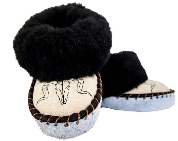 Black & Cream Sheepskin Slippers. Women's Slippers. Handmade