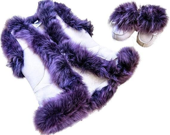 Cute natural Sheepskin Cream Vest for girl 0-1 year old. Purple fur! Crib Vest. Lambskin vest.