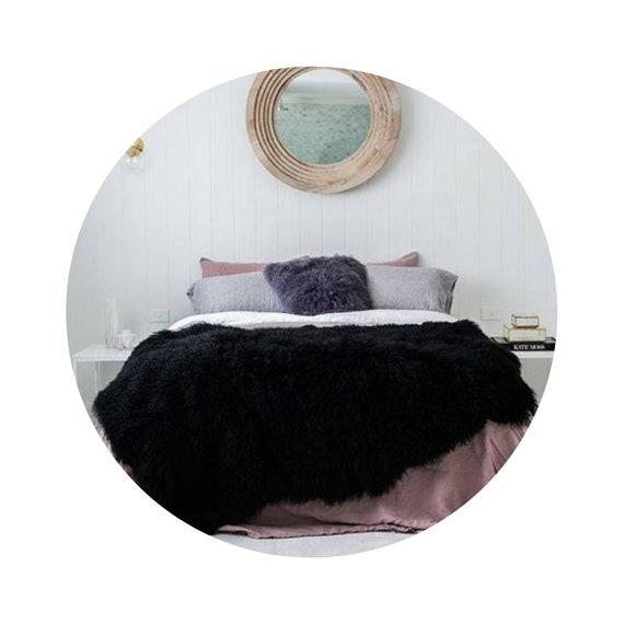 Natural Sheepskin Throw Blanket - Black/Burgundy/Brown/Gray/White.
