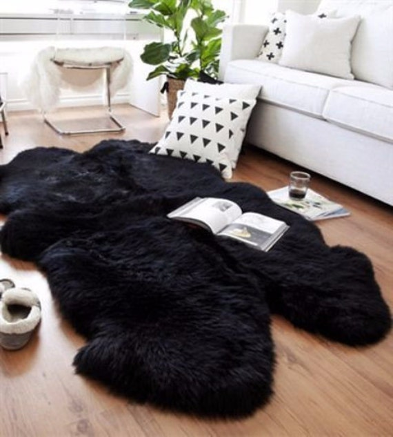 Quadruple Sheepskin Carpet Rug. Premium Quality! About 185cm x 140cm. 7 Colors! Lambskin - Soft and Luxurious Long Hair