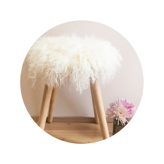 White Mongolian Sheepskin Stool Covers! Round / Square / Rectangle. Real White Mongolian Sheepskin.