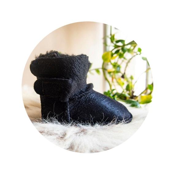 Baby Black Sheepskin Boots. BHANDMADE