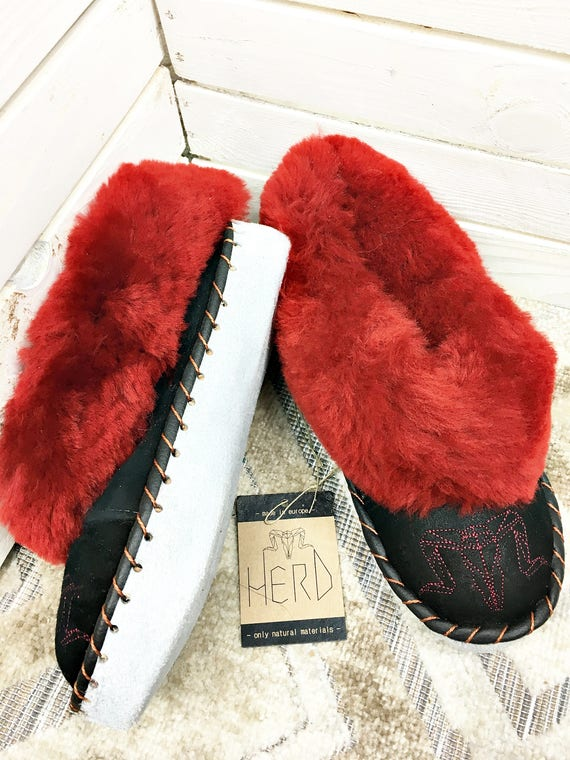 Burgundy & Black Leather Slippers. Women's Slippers. Genuine Leather Slippers. Warm Winter Slippers.