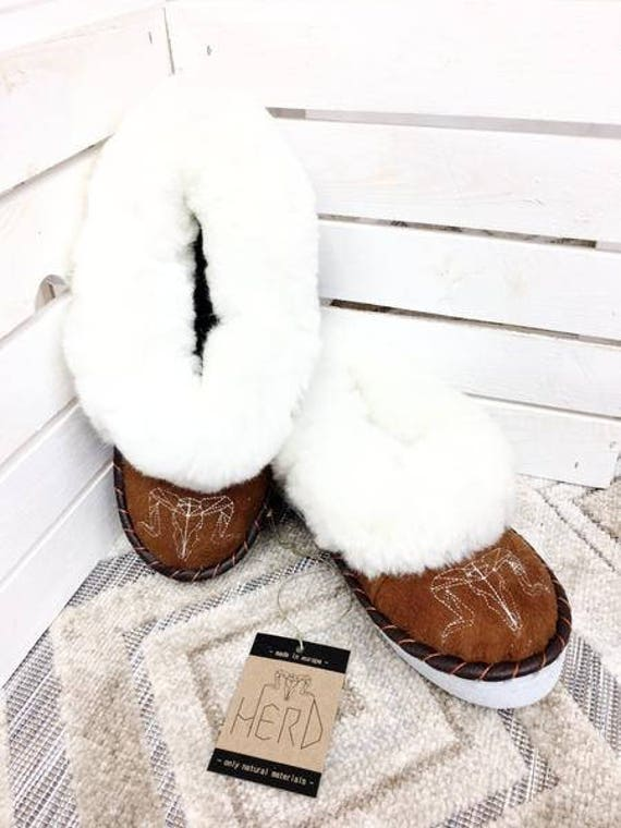 Brown & White Leather Slippers. Genuine Leather And Wool Slippers. Women's Shoes. Women's Leather Slippers. Natural Leather Slippers.