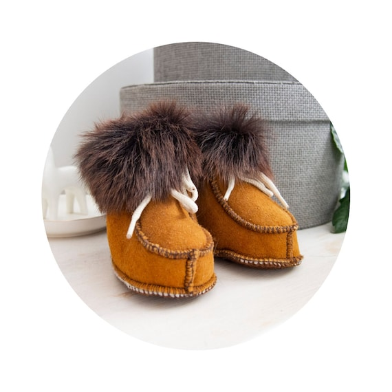 Real Leather Sheepskin Boots. Genuine Leather and Natural Soft Fur. Sheepskin Slippers For Kids.