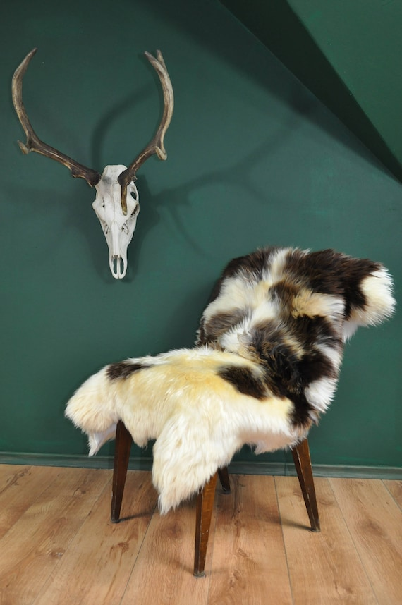 Luxurious Natural Jacob Sheepskin Rug. About 135 cm long!