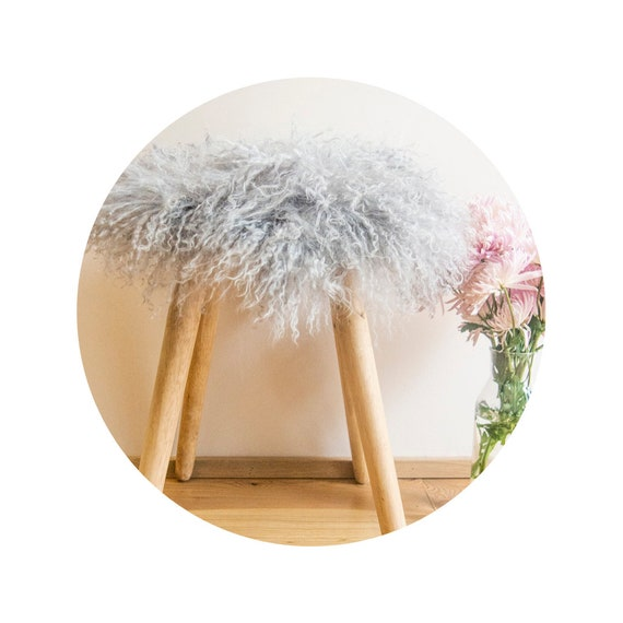 Gray Mongolian Sheepskin Stool Covers! Round / Square / Rectangle. Real White Mongolian Sheepskin.
