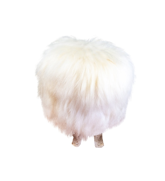 Natural birch wood and real Ivory sheepskin ottoman