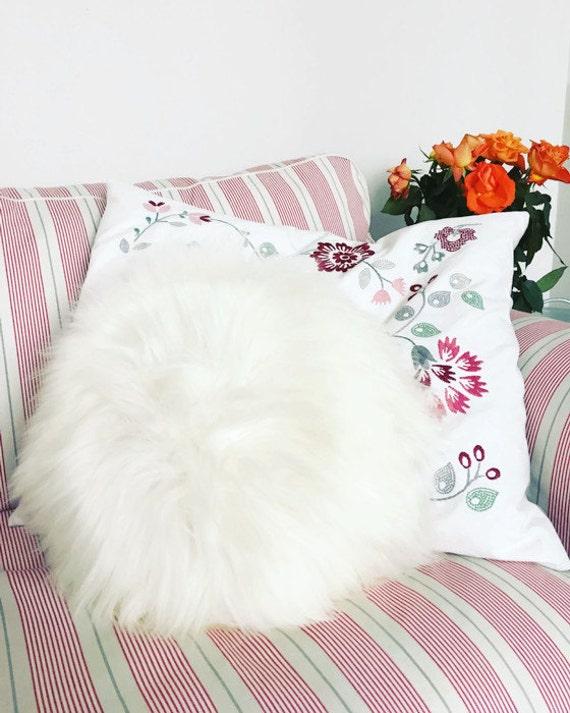Decorative round Furry Pillow /Sheepskin Cushions - 7 different colours, 6 sizes! Sheepskin home decor. Sheepskin pillow.
