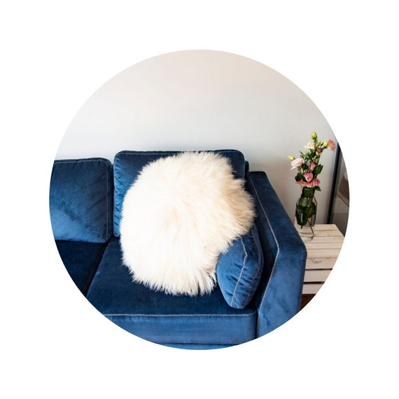 Decorative round Furry Pillow /Sheepskin Cushions - 7 different colours, 6 sizes! Sheepskin home decor. Sheepskin pillow.