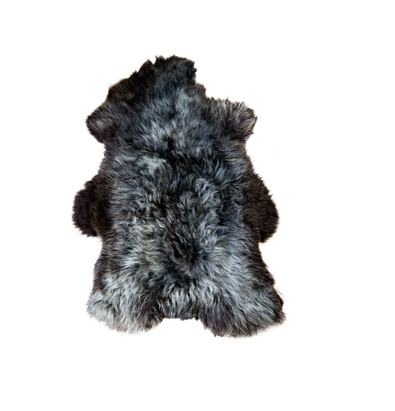 Natural Gray & Black Rare Breed Sheepskin Rug | HUGE 150cm!