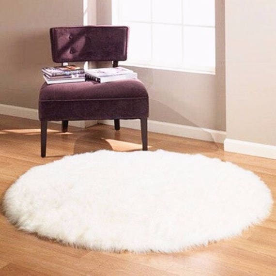 Sheepskin Round Rug. Sheepskin Pelt. Genuine Sheepskin. Throw Rug. Natural Leather Carpet.