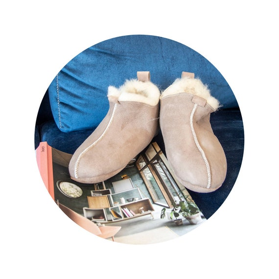 Gray Natural Sheepskin Slippers.