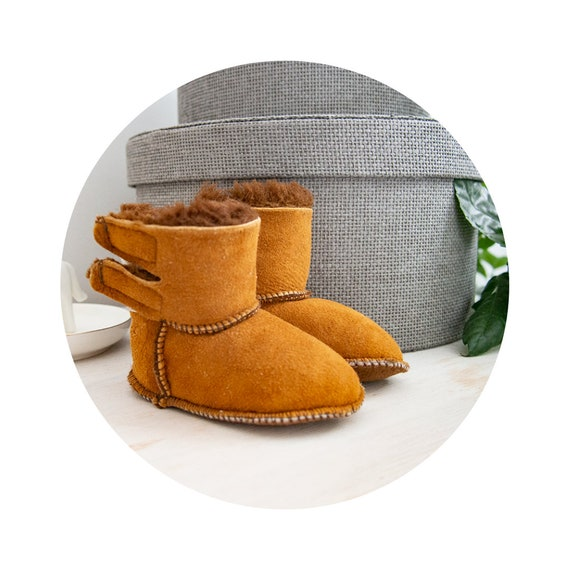 Red Brown Baby Sheepskin Boots/Slippers.